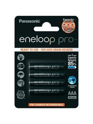 BATTERIA ricaricabile ministilo Panasonic ENELOOP PRO NIMH 900 mAh 4pz