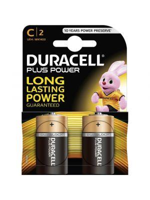 Blister 2 batterie 1/2 torcia DURACELL plus power alcalina LR14 1,5V