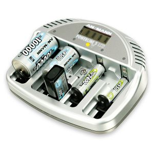 CARICABATTERIA POWERLINE 5 LCD ANSMANN per batterie Micro AAA, Mignon AA, Baby C, Mono D e 9V